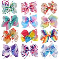 Wholesale Pageant Hair Bows - Boutique 5 INCH Pageant Rainbow Gradual Color Knotted Hair Bow Bowknot Hair Clip For Kid Baby Children Girl