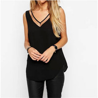 Wholesale See Through Chiffon Tops - Plus Size Blusas 2016 Summer Women Ladies Sexy V neck Mesh Stitching Backless Chiffon Vest Blouse Shirt Female See Through Tops