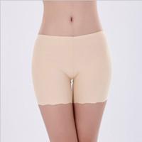 Wholesale High Waist Safety Pant - Women safety short pants Natural ice silk seamless Healthy Half length shorts femme dentelle white black nude underwear