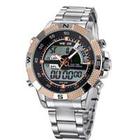 Wholesale Weide Digital Analog Gold - Fashion Casual DIgital Quartz Watch Men WEIDE Brand Gold Watch Hombre Relojoes Stainless Steel Strap Dress Wristwatch Orologio Uomo