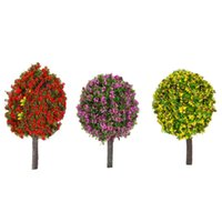 Wholesale Plastic Trees Model - Wholesale- Miniature Diorama 30 Pcs 1:100 Scale Ball-shaped Flower Trees Model Train Layout Garden Scenery Landscape Trees Mixed 3 Colors