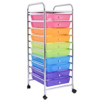 Wholesale Rolling Drawer - 10 Drawer Rolling Storage Cart Scrapbook Paper Office School Organizer Rainbow