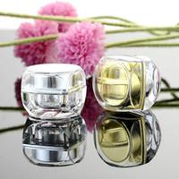 h crema al por mayor-5g 10g Octagonal Gold Silver Acrílico Empty Plastic Cosmetic Cream pequeños tarros 5g 10g para contenedores de envases de muestra H