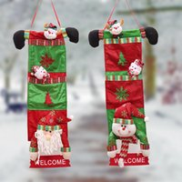 Wholesale Santa Signs - 20*70cm Santa Claus Christmas House Door Decoration Hangings Snowman Hanger Welcome Signs Merry Christmas Tree Ornament