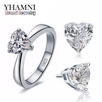 anillo de compromiso de boda de diamante real conjunto al por mayor-YHAMNI Conjuntos de joyería de boda nupcial original para mujeres Real 925 plata esterlina corazón CZ Diamond Stud pendientes anillo de joyería nupcial TZ002