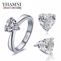 Wholesale Real Diamond Earrings For Women - YHAMNI Original Bridal Wedding Jewelry Sets for Women Real 925 Sterling Silver Heart CZ Diamond Stud Earrings Ring Bridal Jewelry Sets TZ002