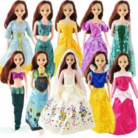 Wholesale Dress Wedding Tale - 5 Pcs Barbie Dolls Dress Similar Fairy Tale Princess Snowwhite Cinderella Anna Wedding Dress For Barbie Doll Girl Gift Kid Toys