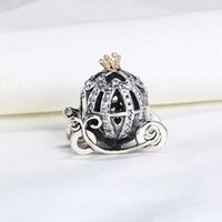Wholesale Pandora Car - Wholesale Real 925 Sterling Silver Gold Plated Cute Pumpkin Car European Charms Beads Fit Pandora Snake Chain Bracelet DIY Jewelry