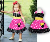 Wholesale Dress Polka Dot Pink Girls - Toddler Girl Sleeveless Minnie Dress Summer 2 colour!Baby Girls Cartoon Mouse Dresses Polka Dot Dress Girls Children's Clothing