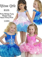 Wholesale Dres For Kids - Real Images Cute Little Girls Pageant Dresses 2016 Crystal Beads Ball Gown Royal Blue Flower Girl Dresses For Toddlers Kids Communion Dres
