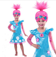 Wholesale Kids Stage Clothing - Kids Christmas Costumes For Girls Trolls Party Dress Kids Dresses For Girls Long Sleeve Robe Princess For Teenagers Children Clothing Q0644