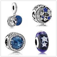 deniz yıldızı 925 bilezik toptan satış-Denizyıldızı Gökyüzü Opal Sır Dangle Charm 925 Gümüş Avrupa Yüzen Takılar Boncuk Ile Mavi Emaye Fit Pandora Bilezik DIY Takı