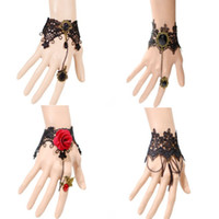 Wholesale Lolita Headdress - Woman headdress hair Vintage Lace bracelets, Gothic Lolita, black rings, red flowers, bracelets, Party dinners, wine portraits