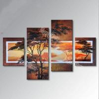 el boyama tuval kalın boya toptan satış-4 Parça saf el boyalı manzara yağlıboya kalın tuval üzerinde çam ağacı boyama modern ev duvar sanat dekorasyon hediye