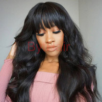 Wholesale human hair wave bangs - Bythair Lace Front Human Hair Bob Wigs Virgin Hair Peruvian Full Lace Wig With Baby Hairs Glueless Full Lace Human Wigs With Bangs