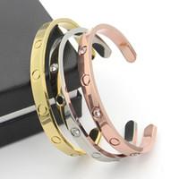 estilo dos braceletes do ouro venda por atacado-Venda quente Novo estilo de prata rosa 18 k banhado a ouro 316L titanium aço amor aberto parafuso pulseira para homens casal mulher vem com saco de pó