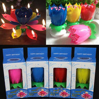 velas de regalo al por mayor-Colorido Pétalos Música Vela Niños Fiesta de Cumpleaños Lotus Flor de Espumoso Velas Squirt Flor Llama Pastel Accesorio Regalo WX9-104