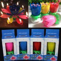 aniversário velas lótus venda por atacado-Pétalas Coloridas Música Vela Crianças Festa de Aniversário De Lótus Espumante Flor Velas de Flores de Esguichar Chama Bolo Acessório Presente WX9-104