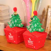 Wholesale Cupcake Box Packaging - Christmas Red Cupcake Box Paper Muffin Paper Boxes Apple Paper Boxes and Gift Packaging Christmas Cupcake Packaging 10Pcs lot