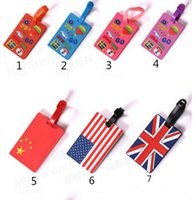 Wholesale pvc name card - Soft PVC 3D National Flag Luggage Claim Tag Travel Name Tag Cartoon Card Tag Name Pocket Case 10.5x6.4CM