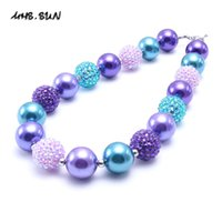 Wholesale baby gifts for girls - MHS SUN Purple Zircon Blue Color Baby Kid Chunky Necklace Fashion Toddlers Girls Bubblegum Bead Chunky Necklace Jewelry Gift For Children
