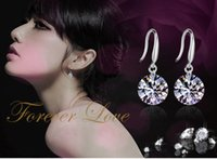 Wholesale Earrings Mixed Design - 2017 New Selling Luxurious Sterling Women's Silver Zircon Earring Shine Faishion Handmade Original Design Support Mixed Color
