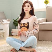 Wholesale Sexy Owl Shirt - New Cute Cartoon Owl Pajama Sets For Women Long Sleeve Pijama Pajamas Pyjama femme Sleepwear Girls Nightwear Womens Clothing PJ8
