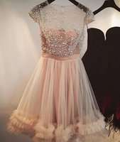 Wholesale Cheap Pretty Green - 2017 Pretty Cheap Pink Illusion Tulle A Line Short Homecoming Dresses Pearls Mini Party Short Cocktail Prom Dresses Custom Made