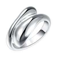 wholesale brand ring 2018 - Brand New 925 Silver Plated Fashion Drop Water Rings Free Size Women Ladies Elegant Water Rings Jewelry