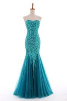 Wholesale Hot Slim Tight Dress - Evening Dresses Hot Sell Slim Waist Tight Sexy Strapless Sequins Pink Fishtail Wedding Party Prom Dress Bride Mermaid Dress #001 16