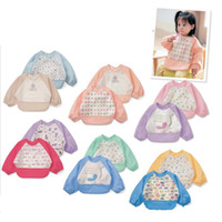 Wholesale Children Art Smock - Cute Cartoon Colorful Baby Bibs Long Sleeve Art Apron Animal Smock Children Bib Burp Clothes Soft Feeding Eat Toddle Waterproof 0601401
