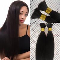 Wholesale silky braiding hair online - 100 Human Hair Bulk for Braiding Bundles Silky Straight Indian Hair Bulk inch FDSHINE