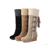 ingrosso stivali alti di cannaio-Scarponi da neve da donna di alta qualità, stivali invernali per le scarpe invernali di marca caviglia per il tempo libero, stivali da donna peluche scarpe di pelliccia calda