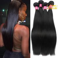 brezilya saç fiyatları toptan satış-Güzel Kız Için güzel Saç Işlenmemiş Bakire Saç Uzatma Düz 100 Insan Saçı Atkı Toptan Fiyat Brezilyalı Perulu Düz