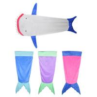 Wholesale Wholesale Velvet Pajamas - Mermaid Blanket Towel Envelopes For 5-12T Kids Soft Animal Sleeping Bag Pajamas Overalls Children Quilt Velvet Shark Blanket 0711002