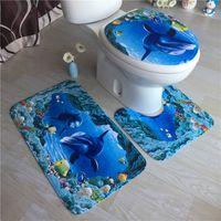Wholesale Acrylic Bathroom Rug Set - Bathroom Non-Slip Ocean Style Pedestal Rug + Lid Toilet Cover + Bath Mat Blue Bathroom Decoration Free DHL XL-303