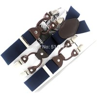 Wholesale beige gift box - Wholesale-Fashion Leather Man's suspenders lady 's 6 clips braces GIft box adult braces Width 3.5cm Length:118cm Free shipping