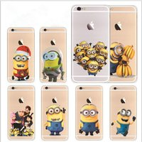 Wholesale Despicable Phone Case Cover - Minion phone case for iphone 7 6 5S SE 6S plus Yellow Minion Design Case Sofe Minion Coque clear Transparent Despicable Cover