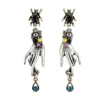 Wholesale Spider Earrings Rhinestone - New Fashion Spider Stud with Small Silver Hand Design Pendants and Colorful Rhinestones Drop Earrings for Women