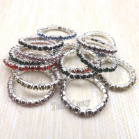 Wholesale Elastic Stone Ring - Fashion Elastic Crystal Rings Mix Color For Girl Stretchy Crystal Rings Pack of 50pcs Free Shipping