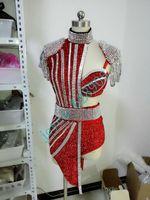 Wholesale Sequin Short Bra - Luxury Clubwear Sequins Belt Jacket Sexy Bright Rhinestone Bra Short Crystal Design Female Singer Nightclub Dress Bra Costume