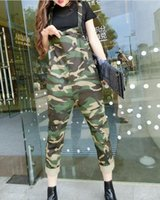 Wholesale Korean Wearing Harem Pants - Wholesale- Winter new style womens casual loose denim camouflage jumpsuits Korean harem pants Print overaolls work wear