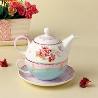 Wholesale Teapot Cup Sets - Creative rose ceramic teapot cup and saucer new bone china nocturne china teapot sets with cup for one person