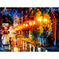 Wholesale One October - Modern Landscape paintings october fog Leonid Afremov Reproduction Canvas art hand-painted home decor