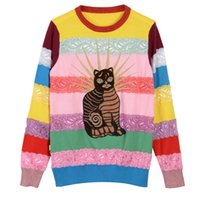 Wholesale Sweater Rainbow Woman - 2017 brand ladies fashion rainbow striped lace stitching embroidery cat pattern sweaters