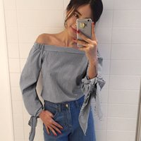 Wholesale White Blouse Black Bow - 2017 Plus Size Women Sexy Blouses Slash Neck Off Shoulder Bow Long Sleeve Casual Tops Shirts Blue White Striped Party Blusas