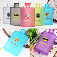 Wholesale Plastic Frosted Cups - 400ML Frosted Jug Cup American Captain Superman Spiderman Creative Bottle Hip Flasks Outdoor Travel Plastic Mugs 6 Color WX-C36