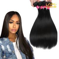 Wholesale Cheaper Weave Hair - Cheaper 8A 8-28 inch Hair Extensions Straight Hair Weaves Brazilian Malaysian Peruvian Indian 100% Human Hair Bundles Can Be Dye Ombre