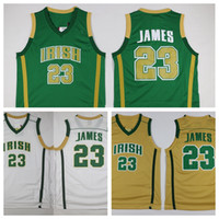 Wholesale Green Basketball Shirts - St. Vincent Mary High School Irish 23 LeBron James Jerseys Green White LeBron James Basketball Jerseys Stitched Sports Shirts