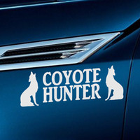 Barato Adesivos De Vinil Lobo-Atacado 10pcs / lot Alfabeto Inglês Animais Car Sticker Coyote Hunter Wolf Dog Car Decor Motos Waterproof Reflective Vinyl Decal